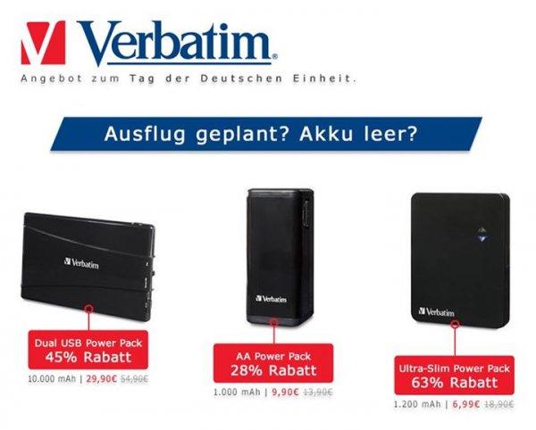 60% auf Power Packs von Verbatim, ab 6,99 €, z.b. zum Handy aufladen (+ 3,50€ VK bis 50€)