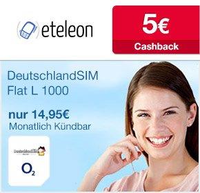 DeutschlandSIM FLAT L 1000 - 14,95 € monatlich + 5EUR QIPU Cachback