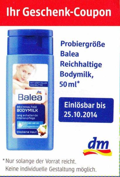 """DM Drogerie - Balea Bodymilk 50ml gratis - Coupon zu finden unter """"zum Deal"""""""