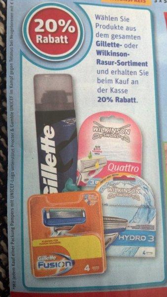 [REWE, bundesweit?]: 20% auf das Gilette- oder Wilkinson-Rasur-Sortiment