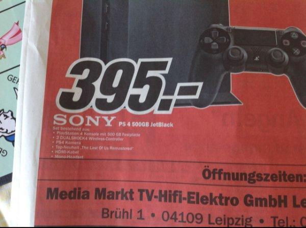 [Media Markt Leipzig] Sony PS4 500GB JetBlack Set, Kamera, Last Of Us Remastered, 2 Controller, 395€!