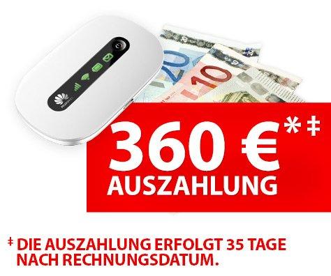 Original Vodafone Datenflat mit LTE und 6GB für rechnerisch 8,99€ inkl. Hotspot
