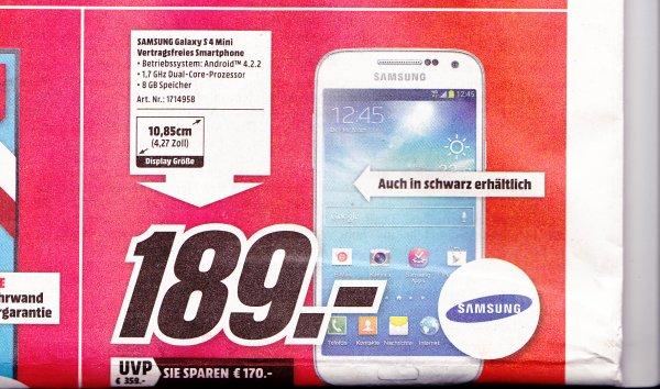 (lokal) Media Markt Herzogenrath Samsung Galaxy S4 mini für 189€, TF500 HD für 33€ usw...
