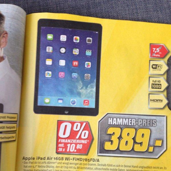 [lokal Sigmaringen] iPad Air 16GB WIFI, 350,10€ nur am 05.10.14 von 13.00-18.00 Uhr