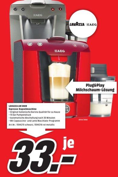 AEG Lavazza LM5400 Espresso-Kapselkaffeemaschine im Mediamarkt Ingolstadt für 33 Euro ( Idealo ab 70 Euro )