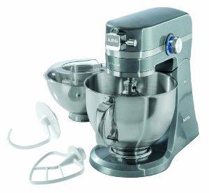 [Amazon.de Blitzangebote]: AEG Küchenmaschine UltraMix KM 4400 / 1000 Watt / 4,8 + 2,9 Liter Edelstahl-Rührschüssel / 10 Geschwindigkeitsstufen / Robustes Vollmetall-Gehäuse / Inkl. umfangreiches Zubehör / Grau Metallic für 246 EUR