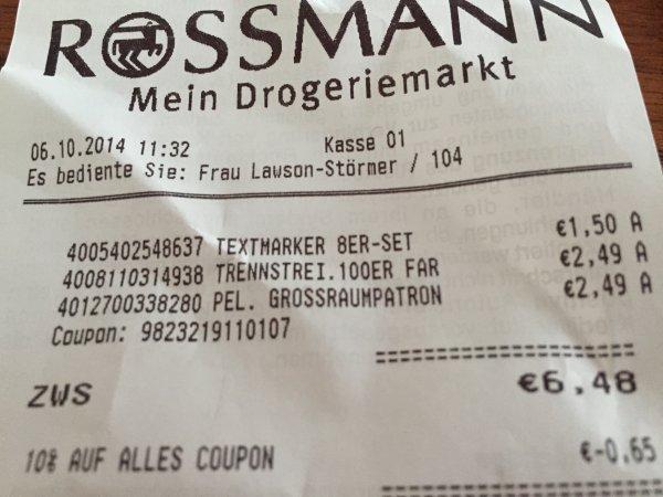 (Lokal Rossmann) 1,50€  8 Stk. Farber-Castell Textmarker, bei Amazon 7,69€
