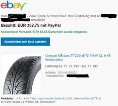Winterreifen 4 x Uniroyal MS Plus 77 225/45R17 94V XL via ATU 20% + eBay 10 % Gutschein
