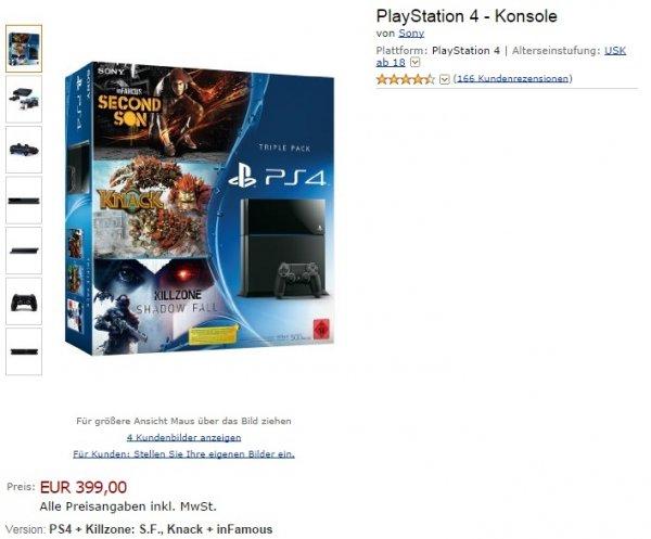 VORBESTELLEN (NICHT AUF LAGER) - Playstation 4 + Killzone, Knack und inFamous 404,00 €