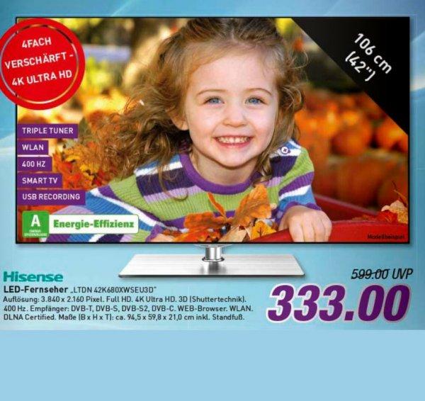 [Marktkauf (regional??)] Hisense 42 Zoll 4K Ultra HD LED-TV (Smart TV) für 333 Euro