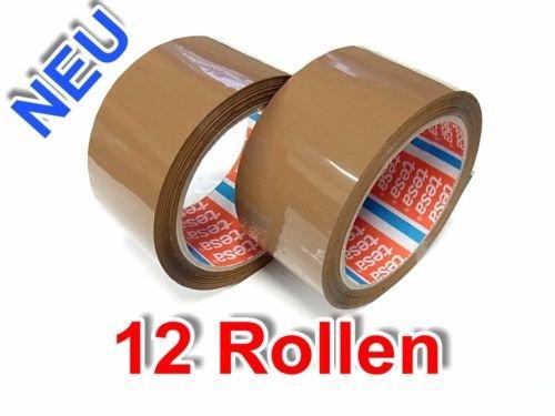 12 ROLLEN PAKETBAND KLEBEBAND PACKBAND ORIGINAL TESA 64014 50mm x 66m BRAUN