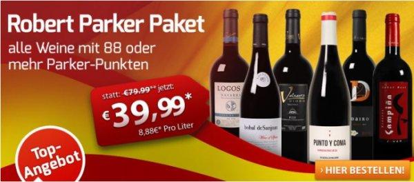 6 Flaschen Wein (min. 88 Parker Punkte) für 31,50 Euro @Weinvorteil
