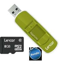 "Bundle: USB-Stick ""Lexar JumpDrive S70"" (grün) + microSDHC Card 8 GB@ZackZack"