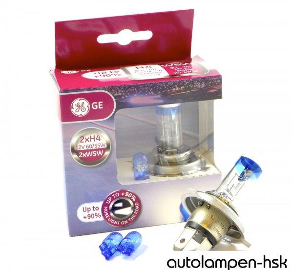 Autolampen General Electric H4 MegaLight Ultra +90% inkl. 2 x W5W Blue  *eBay*