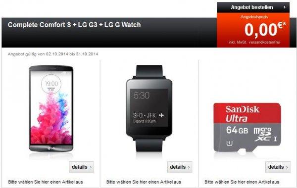 Telekom Complete Comfort S + LG G3 + LG G Watch + Sandisk 64Gig microsd (29,95€ monatlich) keine Zuzahlung!