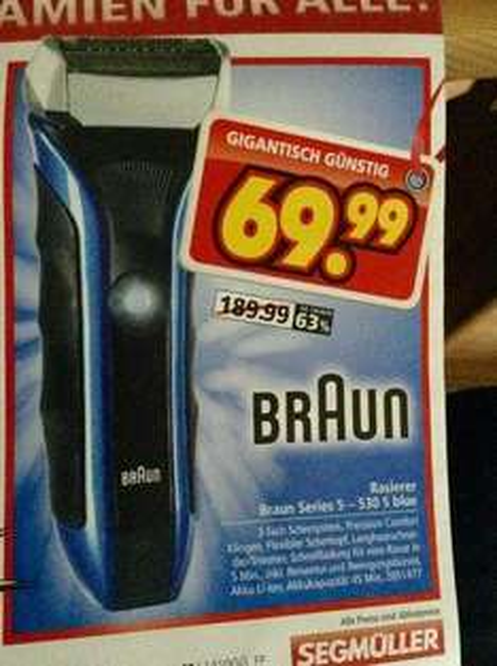 [lokal Friedberg(BAY)+Parsdorf@Segmüller] Rasierer Braun Series 5 530 S blue nur 69.99€