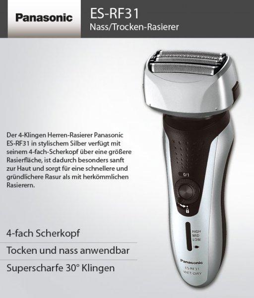 PANASONIC ES-RF31 Herren Nass- und Trocken Rasierer Akku silber/schwarz @ebay 59,99€