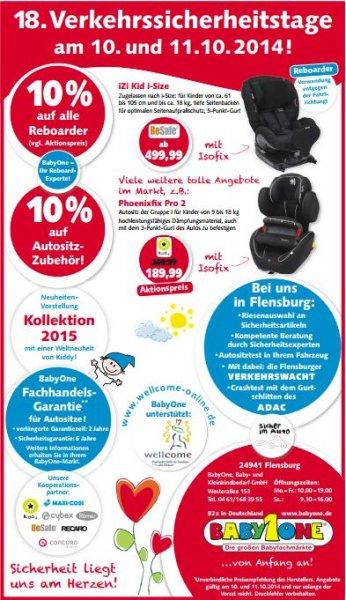 [lokal] Flensburg - Baby1One: 10% auf alle Reboarder und Autositz-Zubehör am 10 und 11 Okt. 2014