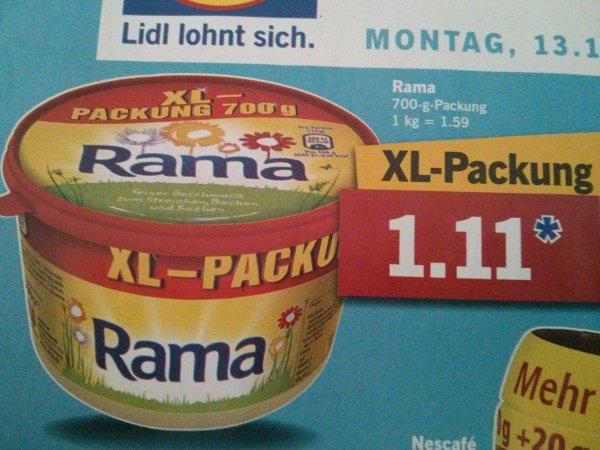 [ Lidl ab 13.10.2014 bis 18.10.2014 ] 5x Rama XL 700g für 3,55€