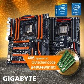 Gigabyte X99 Aktionsmainboard mit 16 GB Crucial Quad-Kit DDR4 kaufen und mit Gutscheincode #40Gewinnt 40€ sparen@Mindfactory