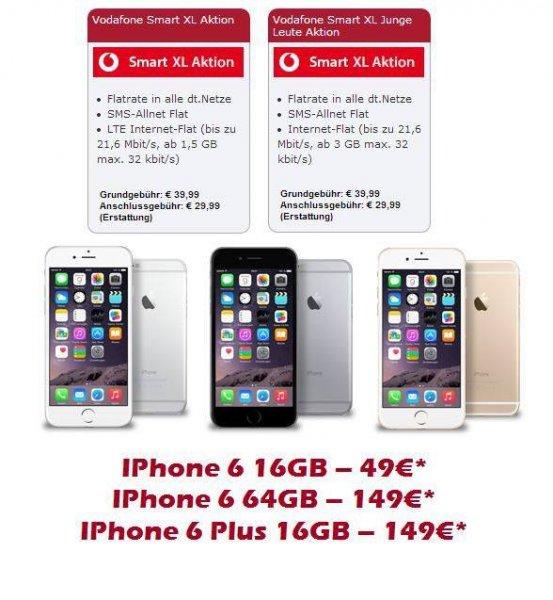 [Lokal Wuppertal ] Vodafone Smart XL für junge Leute 3 GB + iPhone 6 ab 49€ | 39,99€ Monatlich