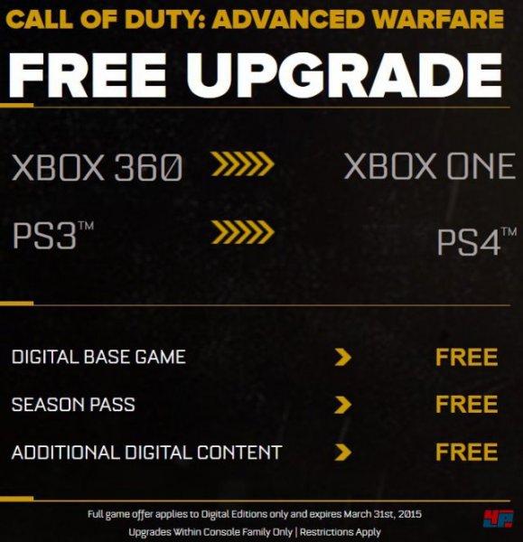 Call of Duty: Advanced Warfare - Kostenloses Upgrade auf PS4 und Xbox One für Käufer der digitalen Xbox-360- und PS3-Versionen