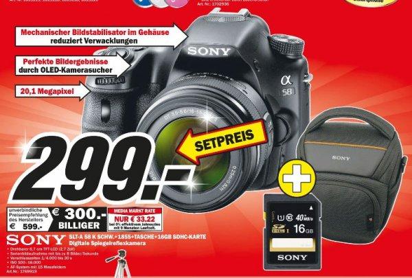 (Lokal)Sony Alpha SLT-A58K Kit 18-55mm+Sony LCS-AMB  Kameratasche+16 GB SDHC Class 10 für 299,-@MM Porta Westfalica