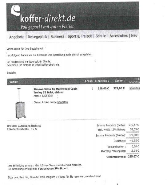 """[Payback+koffer-direkt.de] Rimowa Salsa Air Multiwheel Cabin Trolley 52 für max. ca. 252,38 EUR mit """"meinem"""" Glück sogar nur 234,06 EUR(Vergleichspreis 329)."""