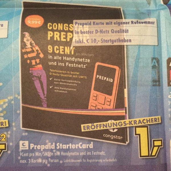 1€ Congstar Prepaid Karte mit 10€ Startguthaben [Lokal] Ratingen PSN möglich