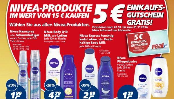 [Real]  Nivea Produkte im Wert von 15€ kaufen und 5€ Einkaufsgutschein gratis erhalten