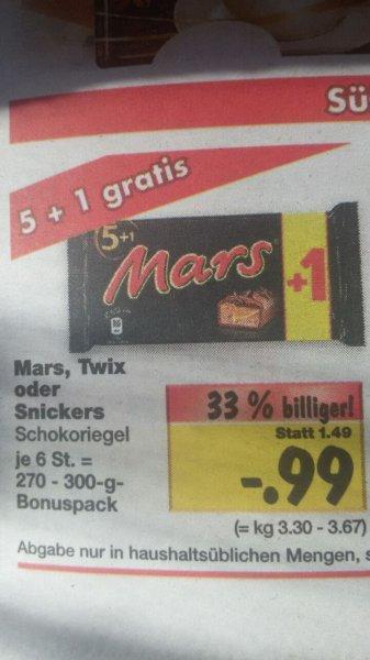 [Lokal] Mars,Snickers,Twix 6er Pack für nur 0,99€ @Kaufland Bückeburg,Stadthagen,Barsinghausen