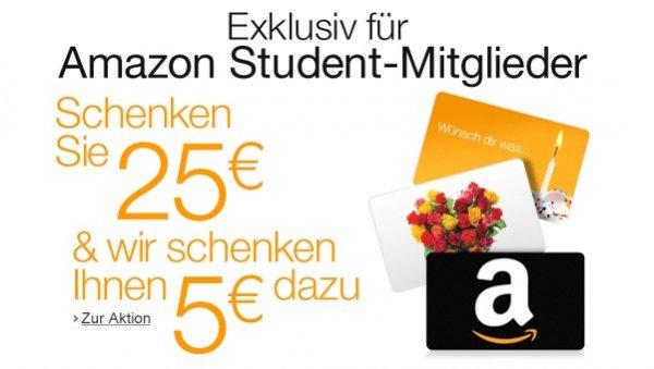 [Amazon Student] 30€ Geschenkgutschein für 25€