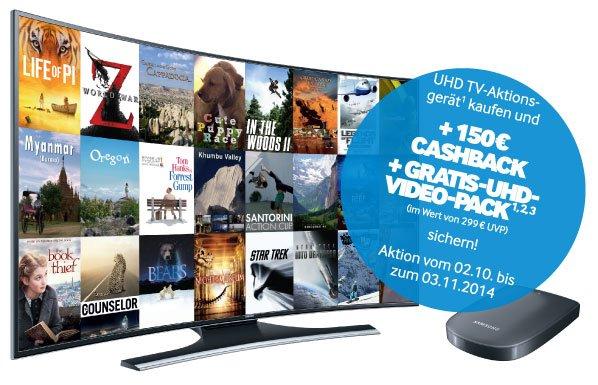 Samsung UE-65HU7200 163cm Curved Ultra HD 4K + 150€ Cashback und UHD Paket @ebay