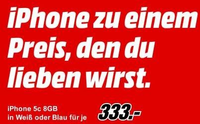 Iphone 5c, 8GB in weiss oder blau je 333 Euro @ Mediamarkt
