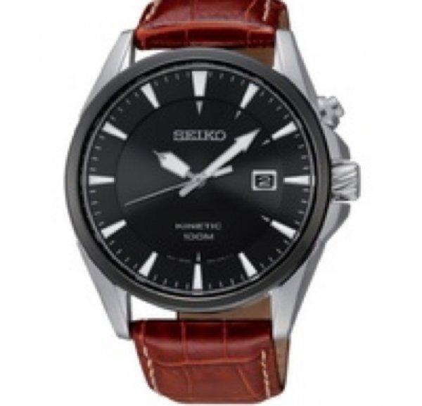 Seiko Herren-Armbanduhr XL Kinetic Analog Automatik Leder SKA569P1