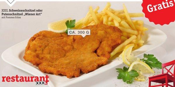 """Gratis Schnitzel """"Wiener Art"""" mit Pommes + alk.-freies Getränk 0,3l + Cappuccino @ XXXL Möbelhäuser"""