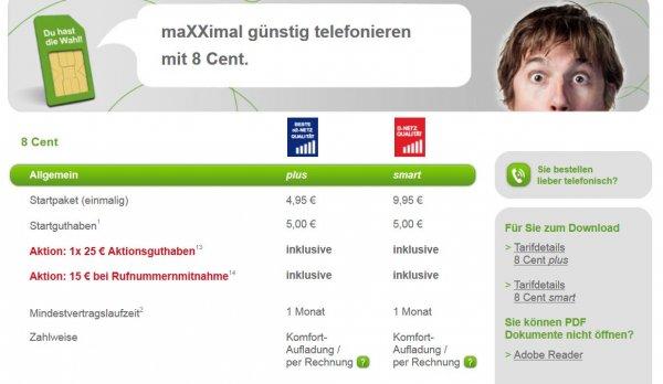 Simkarte MaXXim für 4,95 inkl. 5 euro Startguthaben + 25 € Extraguthaben