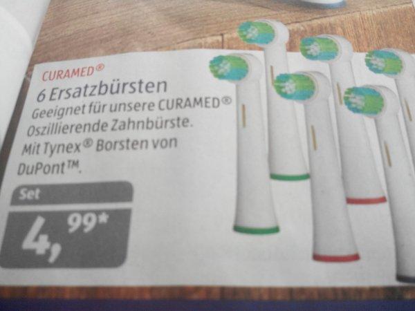 [ALDI SÜD] 6 Curamed Aufsteckbürsten passend für Oral-B Zahnbürsten für 4,99€