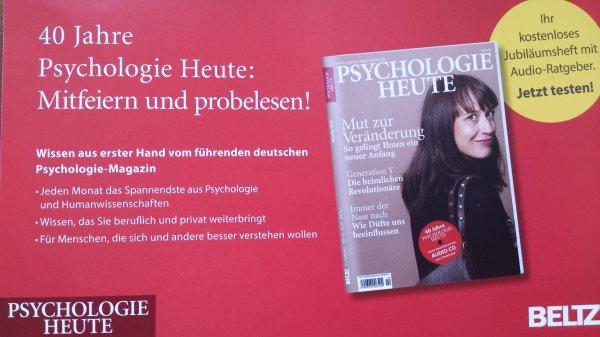 """Jubiläumsausgabe """"Psychologie Heute"""" kostenlos  [Kündigung notwendig]"""