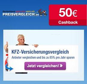 Preisvergleich.de: 50€ Cashback für KFZ Versicherung (qipu)