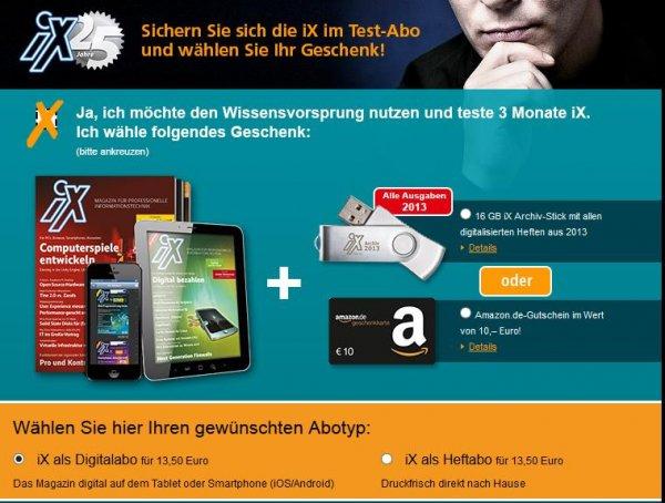 Miniabo! iX als Heft oder Digital 3 Monate für nur 13,50 Euro + 10,- Euro Amazon Gutschein effektiv für 3,50 Euro