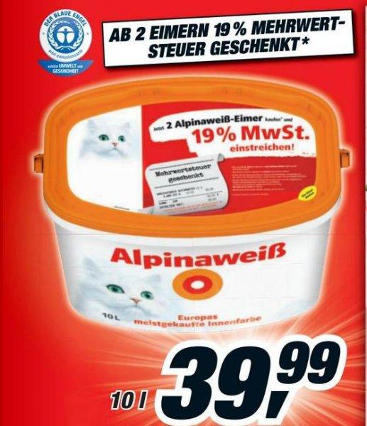 2 Eimer (20l) Alpinaweiß (die gute mit Katze drauf)