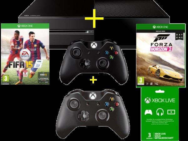 MICROSOFT Xbox ONE 500GB black + 2. Wireless Controller + FIFA 15 ( DLC) + Forza Horizon 2 +Xbox LIVE 3 Monate