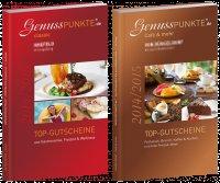 """2 Bücher mit Restaurantgutscheinen für Düsseldorf, Viersen, Krefeld, Neuss: Genusspunkte """"classic"""" und """"Café & mehr"""""""
