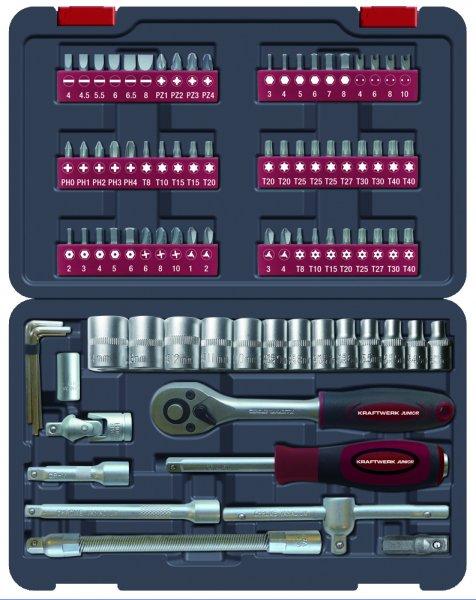 Kraftwerk 1008 - Ex Works - Werkzeugkoffer Steckschlüsselsatz 1/4'' 88 Teile für 24,90€ frei Haus @DC