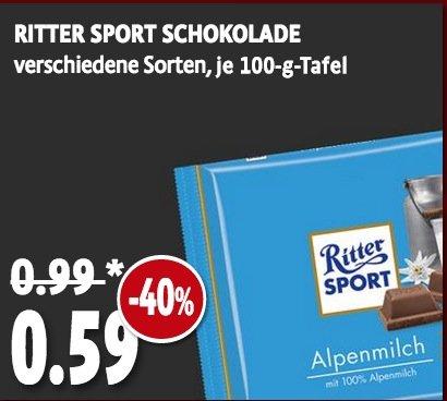 40 % Rabatt auf Ritter Sport jetzt auch bei Kaisers für 0,59 €