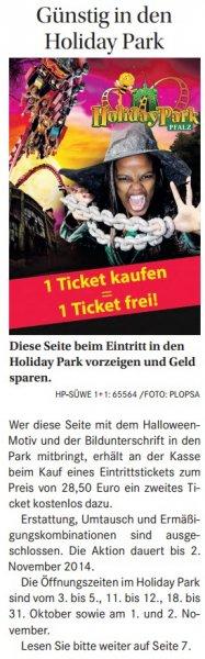 [lokal] HOLIDAY PARK Gutschein Eintritt 2 Personen zum Preis für 1 Person