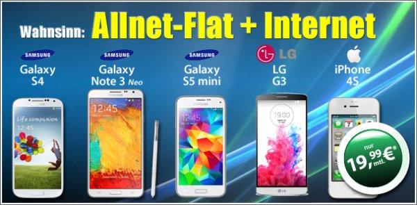 Topsmartphone + Allnet + Internet Flat 19,99€ im Monat