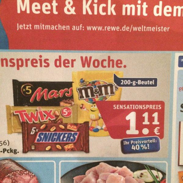 [REWE] Snickers, Twix, Mars u. M&M's jeweils 200 g für 1,11€