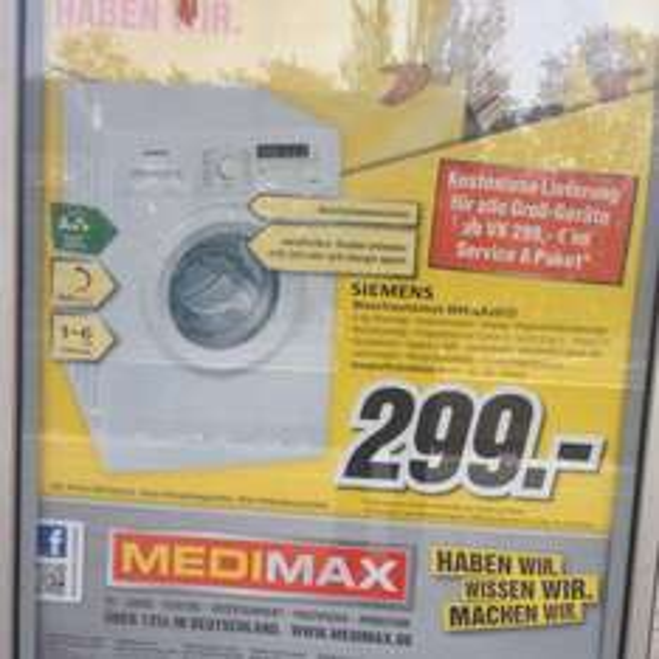 [lokal?] MediMax Berlin & BB - Siemens WM14b2eco Waschmaschine A+++ 299€ inkl. Lieferung
